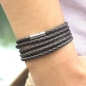 Other - Bolo braided brown leather wrap bracelet